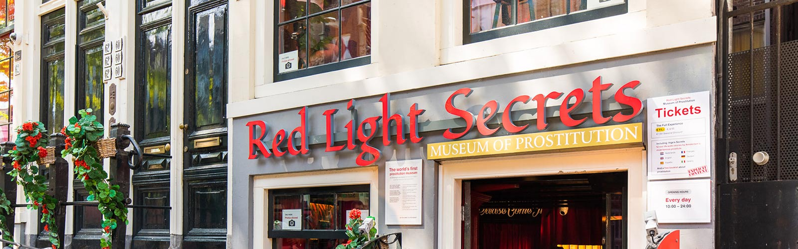 The entrance of Red Light Secrets, Museum of Prostitution in Amsterdam.